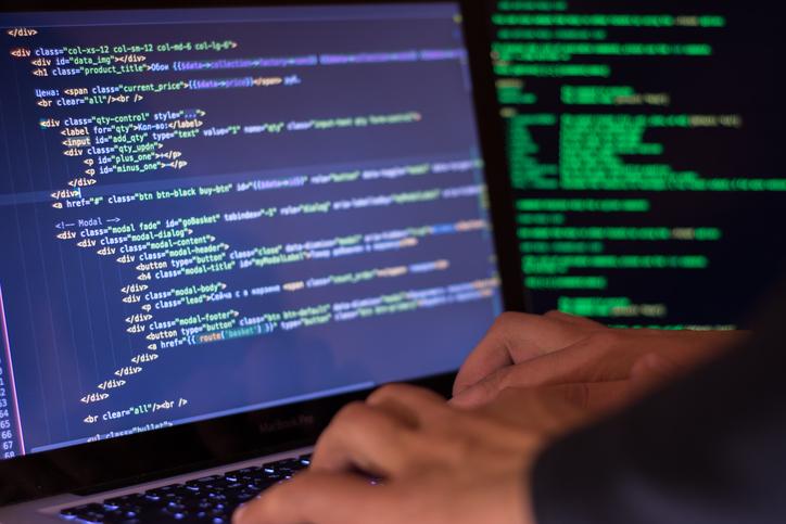 Computer crime concept, hacker breach site